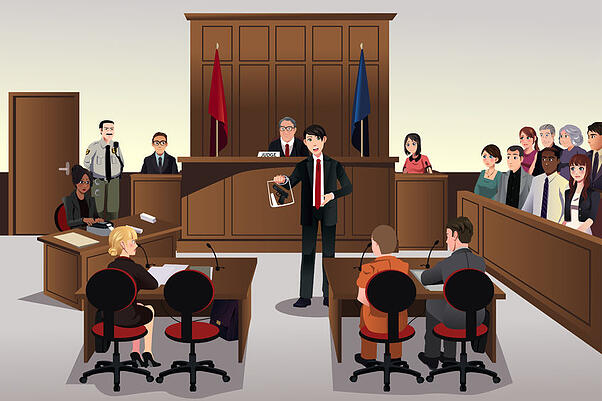 Court scene illustration of presenting evidence in a jury trial.