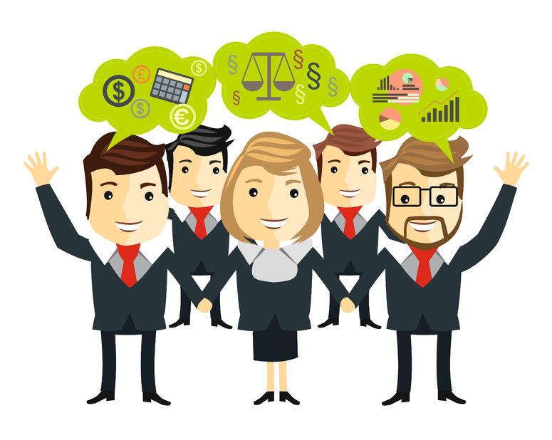 Cartoon of public speaking techniques for successful business team presentations.