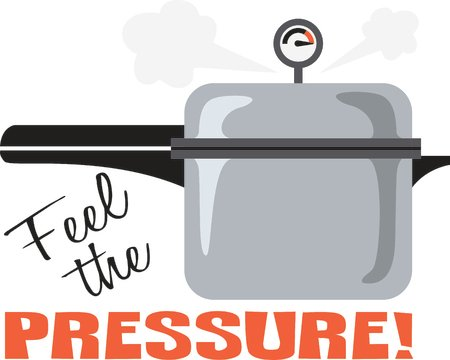 Image of pressure cooker with caption 'Feel the pressure!'