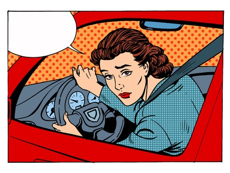 Pop art image like Andy Warhol of woman driver with speech bubble.