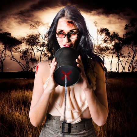 Stock image of female zombie in a haunted house type of setting.