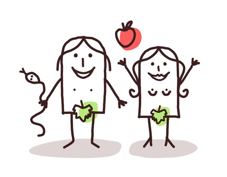 Funny Adam and Eve drawing with fig leafs in illustration of the Garden of Eden.