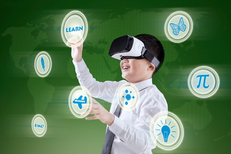 Image of boy wearing a VR or virtual reality headset.