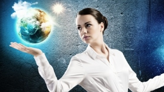 woman with globe