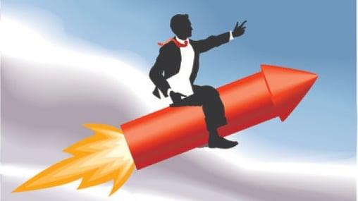 businessman on rocket