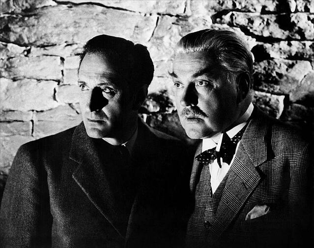 Photo of Basil Rathbone as Sherlock Holmes and Nigel Bruce as Dr. Watson.