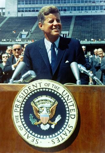 Stock photo of President John F. Kennedy speaking.