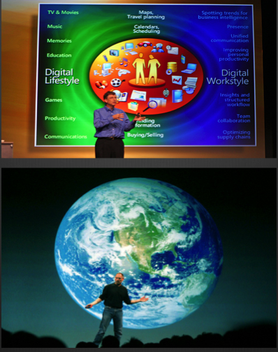 Photo of Bill Gates and Steve Jobs, and examples of effective PowerPoint slides.
