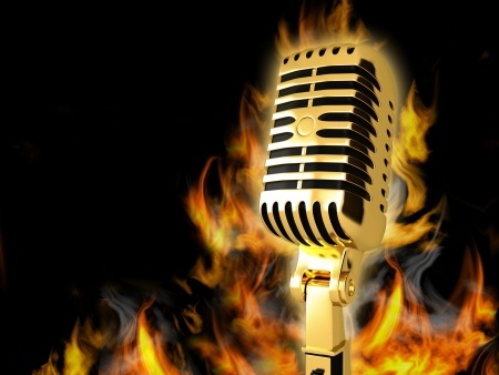 A microphone on fire illustrates the rules concerning how to be an effective public speaker.