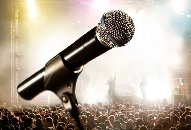 microphone and cheering audience