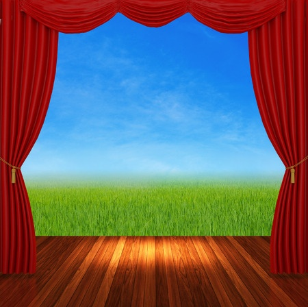 Image of red curtains in a theater on a nature background.