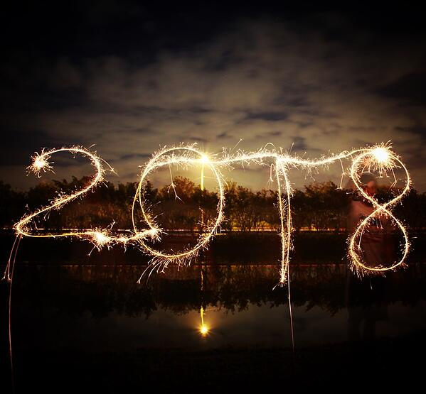 Stock photo of year 2018 written in sparkles.