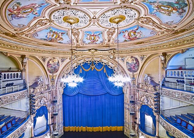 Stock photo of grand theater auditorium, or movie house, or opera house.